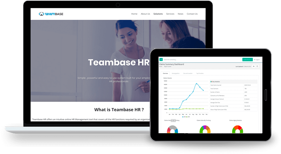 Teambase HR demo screen