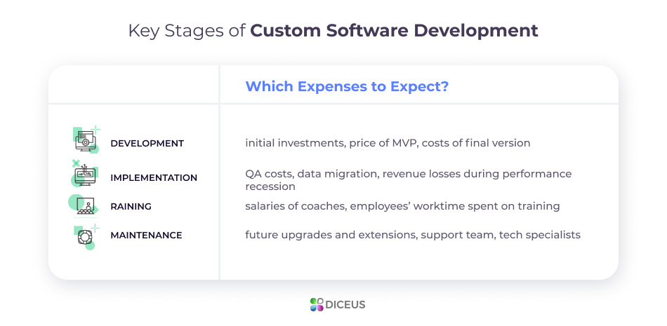 How much does custom software cost in terms of development?