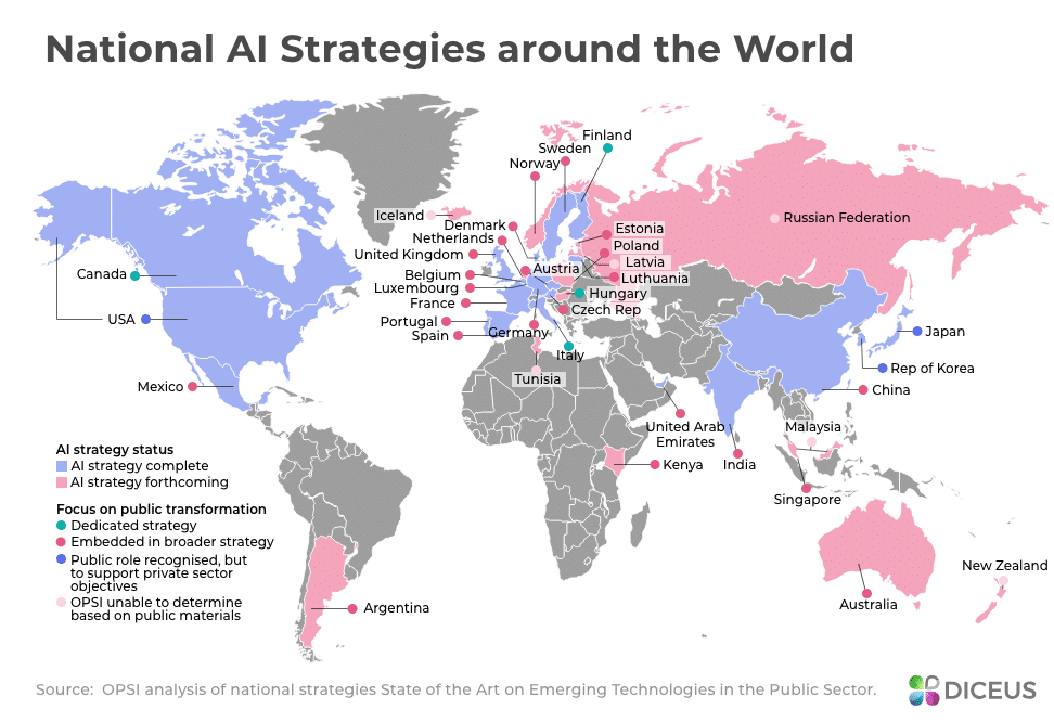 Smart countries by their AI strategies