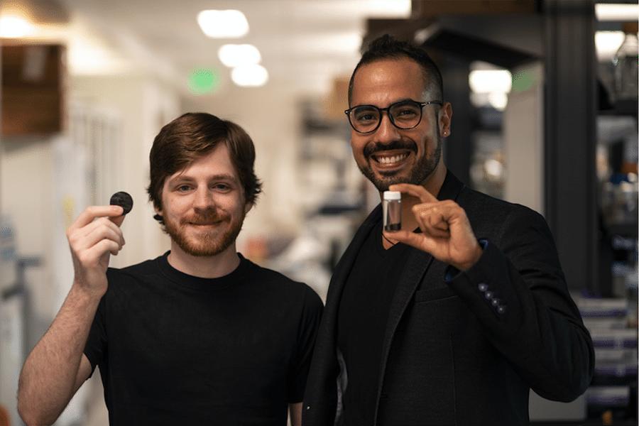 NASA scientists with melanin from fungi