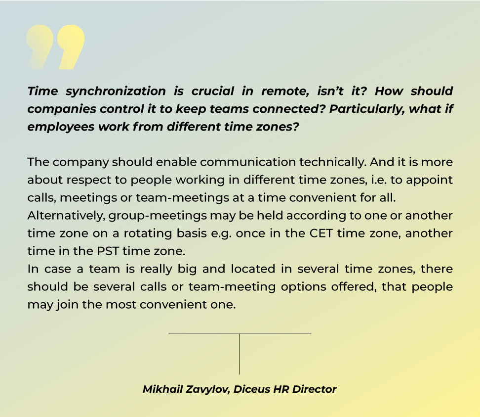 How to connect employees from different time zones