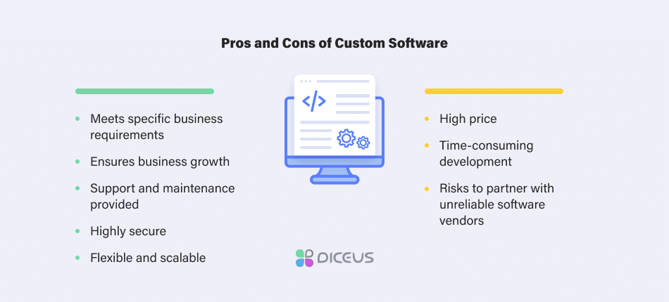 pros and cons of custom software
