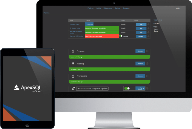 ci cd dashboard for apexsql project