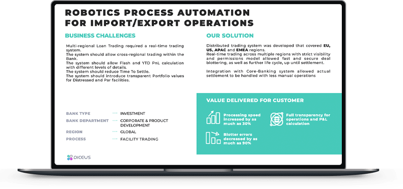 robotics process automation for import export operations solution