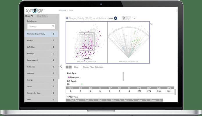 synergy sport app for baseball analytics project