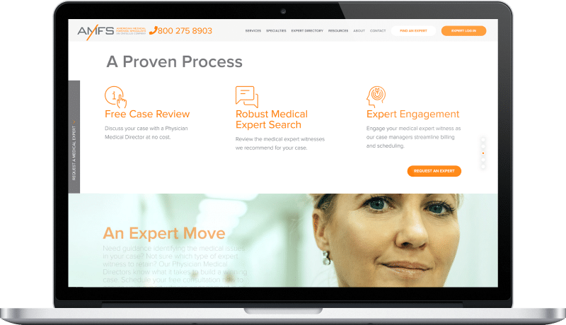 website and cms redesign for a medical forensic compony key