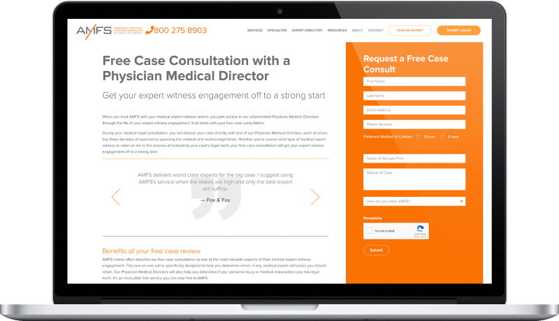 website and cms redesign for a medical forensic compony solution